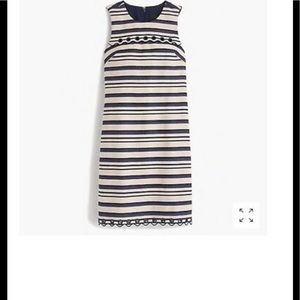 J crew striped scallop dress with grommets